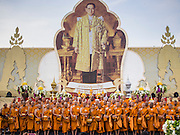 05 DECEMBER 2014 - BANGKOK, THAILAND:  Buddhist monks line up in front of a portrait of the King on Sanam Luang, the parade ground in front of the Grand Palace, after a Buddhist prayer service for Bhumibol Adulyadej, the King of Thailand. Thais marked the 87th birthday of the King Friday. The revered Monarch was scheduled to make a rare public appearance in the Grand Palace but cancelled at the last minute on the instructions of his doctors. He has been hospitalized in Siriraj Hospital, across the Chao Phraya River from the Palace, since early October.   PHOTO BY JACK KURTZ