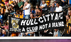 Hull fans make their feelings known to the board  - Photo mandatory by-line: Matt Bunn/JMP - Tel: Mobile: 07966 386802 24/08/2013 - SPORT - FOOTBALL - KC Stadium - Hull -  Hull City V Norwich City - Barclays Premier League