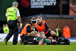 Harry Wells of Leicester Tigers is treated for an injury - Photo mandatory by-line: Patrick Khachfe/JMP - Mobile: 07966 386802 09/11/2014 - SPORT - RUGBY UNION - Leicester - Welford Road - Leicester Tigers v Sale Sharks - LV= Cup