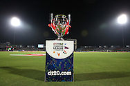 Karbonn Smart Champions League Twenty20 Trophy during the first semi-final match of the Karbonn Smart Champions League T20 (CLT20) 2013 between The Rajasthan Royals and the Chennai Superkings held at the Sawai Mansingh Stadium in Jaipur on the 4th October 2013<br /> <br /> Photo by Shaun Roy-CLT20-SPORTZPICS<br /> <br /> Use of this image is subject to the terms and conditions as outlined by the CLT20. These terms can be found by following this link:<br /> <br /> http://sportzpics.photoshelter.com/image/I0000NmDchxxGVv4
