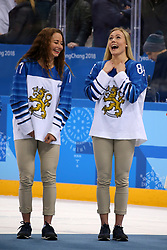 February 22, 2018 - Gangneung, South Korea - (L-R) SUSANNA TAPANI and RONJA SAVOLAINEN of the Bronze medal winning Finland women's hockey team during the medal ceremony at Gangneung Hockey Centre during the 2018 Pyeongchang Winter Olympic Games.  (Credit Image: © Jon Gaede via ZUMA Wire)