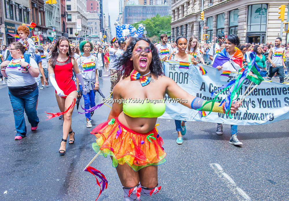 Participants march in the Gay Pride Parade in New York City.  The parade is held two days after the U.S. Supreme Court's decision allowing gay marriage in the U.S.