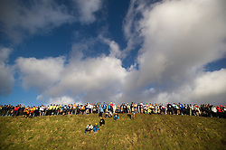 """©  London News Pictures. 27/01/2013.  Competitors prepare to start the race at the top of a hill at the beginning of the 2013 Tough Guy Challenge on January 27, 2013 in Wolverhampton, England. The event has been widely described as """"the toughest race in the world"""", with over one-third of the starters failing to finish in a typical year. Photo credit: Ben Cawthra"""
