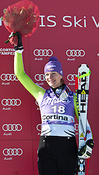 22.01.2011, Tofana, Cortina d Ampezzo, ITA, FIS World Cup Ski Alpin, Lady, Cortina, Abfahrt, im Bild Podium Maria Riesch (GER, #18, Platz 1) // Maria Riesch (GER, place 1) during FIS Ski Worldcup ladies Downhill at pista Tofana in Cortina d Ampezzo, Italy on 22/1/2011. EXPA Pictures © 2011, PhotoCredit: EXPA/ J. Groder