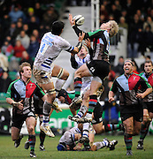 Twickenham, GREAT BRITAIN, right, Quins Charlie AMESBURY, times his catch of the high ball, as right Daniel BROWNE and Alex CROCKETT challenge for the ball, during the Guinness Premiership match, Harlequins vs Bath Rugby at the Twickenham Stoop.  Sun. 16th Feb 2008. 16.03.2008.  [Mandatory Credit, Peter Spurrier/Intersport-images]