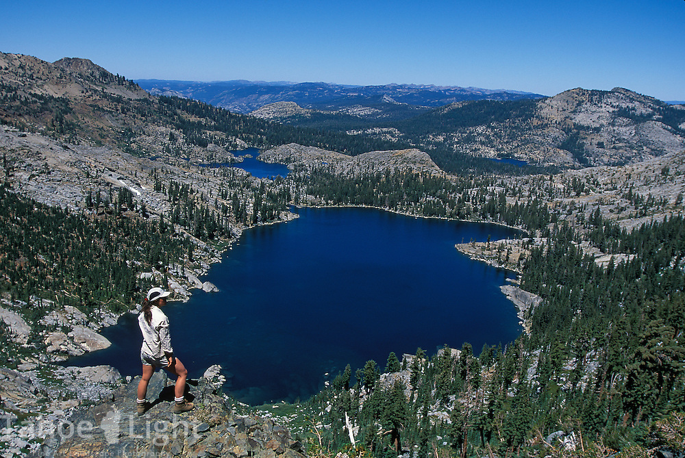 Hiking above Dick'ss Lake along the Tahoe Rim Trail in Desolation Wilderness.