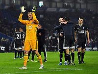 Football - 2019 / 2020 Premier League - Brighton & Hove Albion vs. Leicester City<br /> <br /> Leicester City's Kasper Schmeichel celebrates at the final whistle, at The Amex.<br /> <br /> COLORSPORT/ASHLEY WESTERN