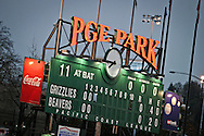 PGE Park was located in downtown Portland and was home to the Portland Beavers Baseball team and Portland Timbers. This is a picture of the scoreboard during a game with the Grizzlies. In 2011 PGE park was renamed to Jeld Win Field, when the park was modified to house the new MLS franchise for the Portland Timbers