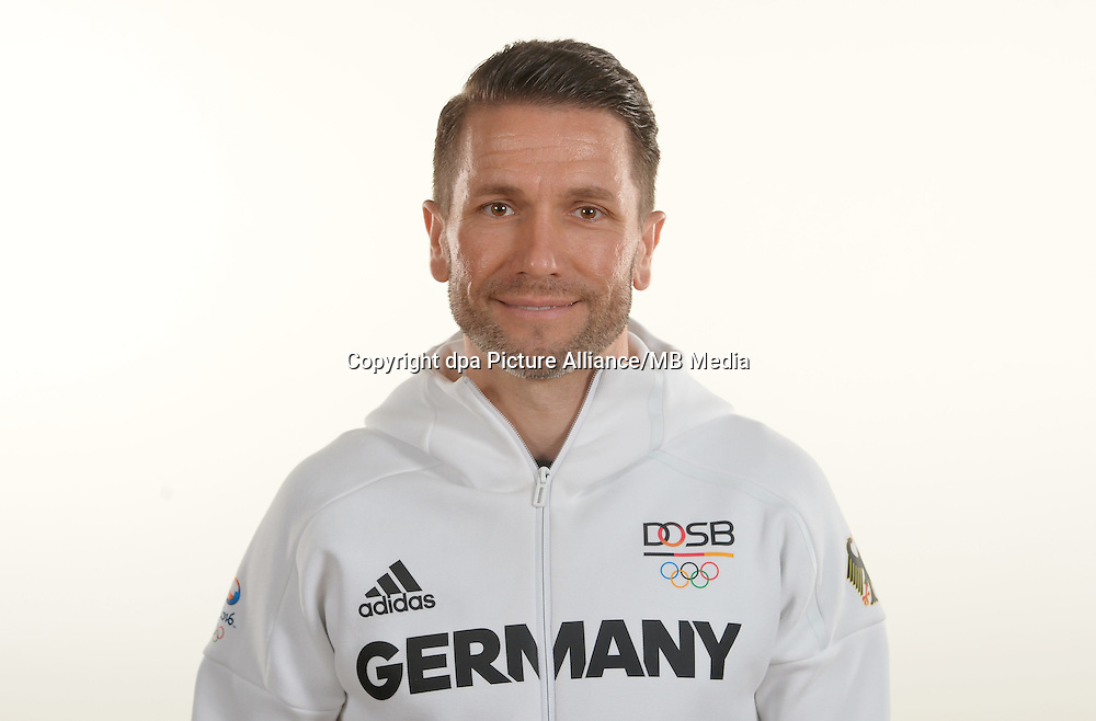Jan Kerler poses at a photocall during the preparations for the Olympic Games in Rio at the Emmich Cambrai Barracks in Hanover, Germany. July 25, 2016. Photo credit: Frank May/ picture alliance. | usage worldwide
