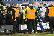 Connor Ripley and Peter Clarke try and calm down irate Bury fans at the final whistle during the EFL Sky Bet League 1 match between Bury and Rochdale at the JD Stadium, Bury, England on 3 April 2018. Picture by Daniel Youngs.