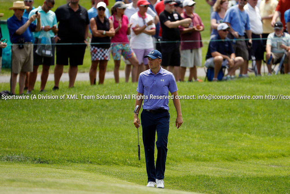 CROMWELL, CT - JUNE 23: Jordan Spieth walks to the 8th green during the second round of the Travelers Championship on June 23, 2017, at TPC River Highlands in Cromwell, Connecticut. (Photo by Fred Kfoury III/Icon Sportswire)