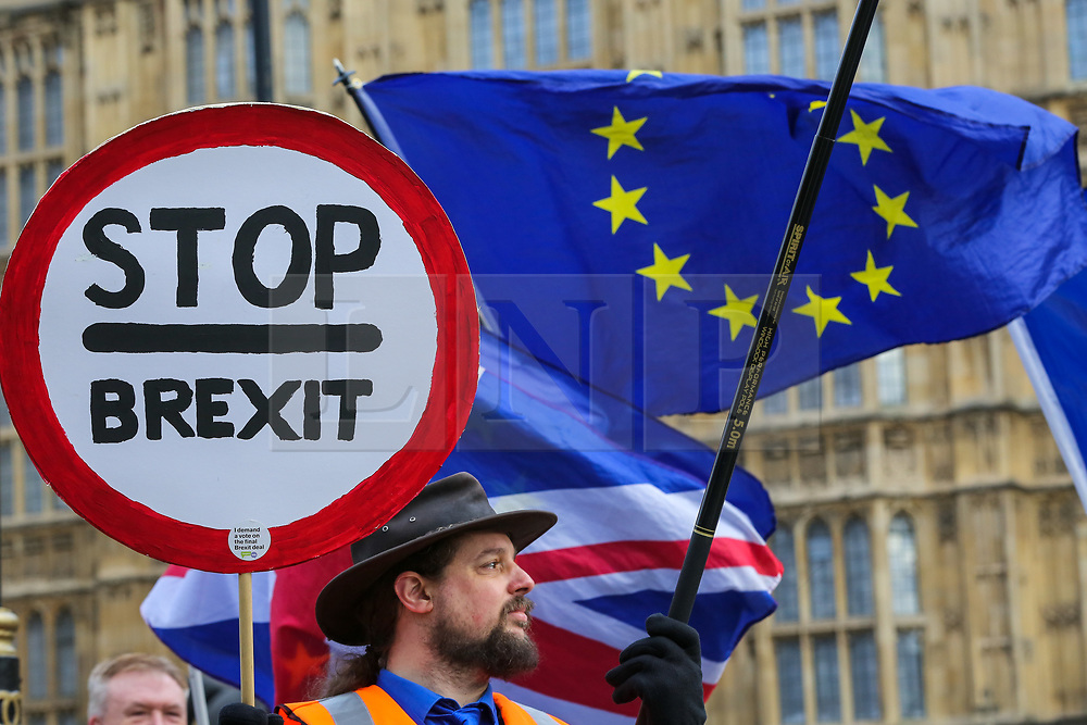 """© Licensed to London News Pictures. 09/01/2019. London, UK. An anti-Brexit protester holds a """"Stop Brexit"""" sign  outside the Houses of Parliament on the first day of the Meaningful Vote debate. At the end of the five day debate the MPs will vote on Prime Minister, Theresa May's Brexit deal. Photo credit: Dinendra Haria/LNP"""