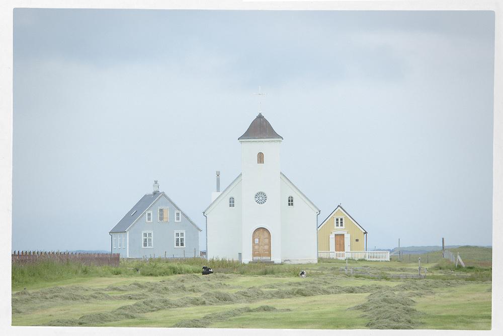Church buildings, Flatey, Iceland