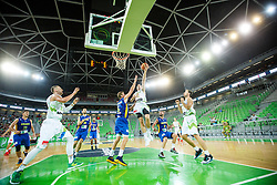 Zoran Dragic, Alen Omic and Sasa Zagorac  of Slovenia and Justin Doellman of Kosovo during qualifying match between Slovenia and Kosovo for European basketball championship 2017,  Arena Stozice, Ljubljana on 31th August, Slovenia. Photo by Grega Valancic / Sportida