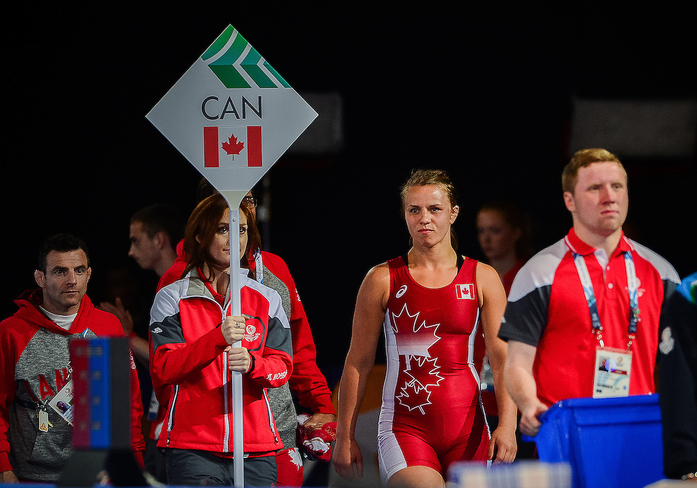 July 29, 2014: Erica Wiebe of Canada enters the Scottish Exhibition Conference Centre to compete in the Women's 75kg Nordic Wrestling competition during the XX Commonwealth Games in Glasgow, Scotland.