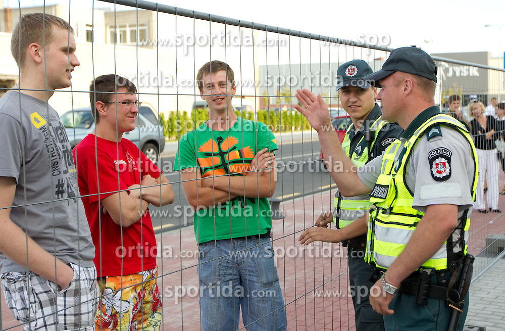 Police prior to the basketball match between National teams of Russia and Slovenia in Group D of Preliminary Round of Eurobasket Lithuania 2011, on September 5, 2011, in Arena Svyturio, Klaipeda, Lithuania.  (Photo by Vid Ponikvar / Sportida)