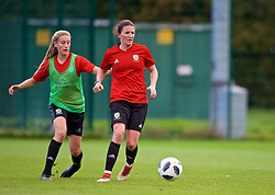NEWPORT, WALES - Tuesday, November 6, 2018: Wales' Josie Longhurst and Helen Ward during a training session at Dragon Park ahead of two games against Portugal. (Pic by Paul Greenwood/Propaganda)