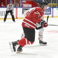 WHITBY, - Dec 13, 2015 -  WJAC Game 2- Team Switzerland vs Team Canada East at the 2015 World Junior A Challenge at the Iroquois Park Recreation Complex, ON. Luc Brown #7 of Team Canada East pursues the play during the second period.<br /> (Photo: Andy Corneau / OJHL Images)