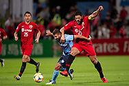 SYDNEY, AUSTRALIA - APRIL 10: Shanghai SIPG FC player Hulk (10) and Sydney FC player Michael Zullo (7) fight for the ball at The AFC Champions League football game between Sydney FC and Shanghai SIPG FC on April 10, 2019, at Netstrata Jubilee Stadium in Sydney, Australia. (Photo by Speed Media/Icon Sportswire)