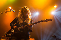 © Licensed to London News Pictures. 07/11/2014. London, UK.   Southern performing live at KOKO, supporting headliner Catfish and the Bottlemen.  In this picture - Lucy Southern.  Southern is an Irish boy-sister duo consisting of band members Thom Southern (vocals, guitar), Lucy Southern (vocals, guitar).   Photo credit : Richard Isaac/LNP