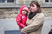 FRANCE, Boulogne: 14 January 2016.<br /> Bashar, the four year old Afghan girl who Rob Lawrie attempted to smuggle into the UK, arrives at court this afternoon before Rob Lawrie faces sentencing. Aid-worker Lawrie was caught by French officers attempting to smuggle Bahar into the UK as he was trying to reunite her with her father in Leeds. <br /> Rick Findler / Story Picture Agency