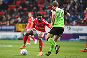 Charlton Athletic Midfielder Tariqe Fosu (14) and Plymouth Argyle Midfielder David Fox (24) in action during the EFL Sky Bet League 1 match between Charlton Athletic and Plymouth Argyle at The Valley, London, England on 24 March 2018. Picture by Stephen Wright.