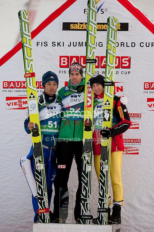 15.01.2012, Kulm, Bad Mitterndorf, AUT, FIS Ski Flug Weltcup, Siegerehrung, im Bild Kamil Stoch (POL), Daiki Ito (JAP) und Anders Bardal (NOR) // Kamil Stoch from Poland, Daiki Ito from Japan and Anders Bardal from Norway on podium of FIS Ski Flying World Cup at the 'Kulm', Bad Mitterndorf, Austria on 2012/01/15, EXPA Pictures © 2012, PhotoCredit: EXPA/ Erwin Scheriau