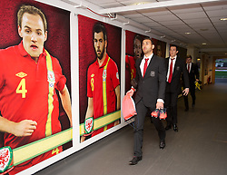 SWANSEA, WALES - Tuesday, March 26, 2013: Wales' Hal Robson-Kanu and goalkeeper Lewis Price arrive at the Liberty Stadium ahead of the 2014 FIFA World Cup Brazil Qualifying Group A match against Croatia. (Pic by David Rawcliffe/Propaganda)