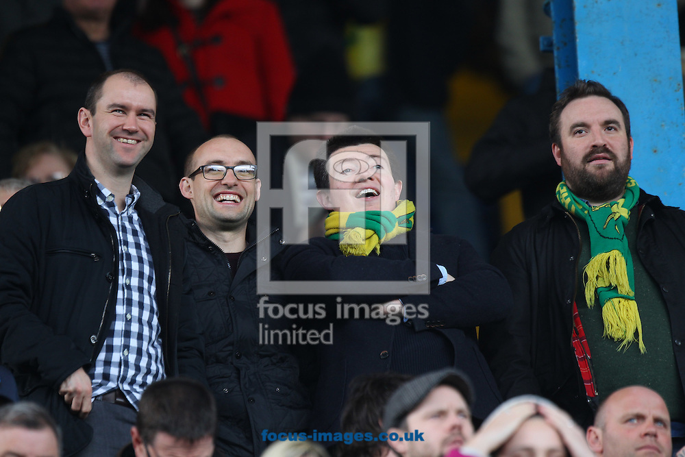 Four traveling Norwich fans still looks happy despite their side going two goals down during the Sky Bet Championship match at Hillsborough, Sheffield<br /> Picture by Paul Chesterton/Focus Images Ltd +44 7904 640267<br /> 04/03/2017