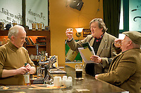 . Stephen Fry's cameo appearance on Ros na Run was shot last night and will air in early 2011. .The shoot, depicts Fry as a confused English tourist who is lost in Connemara and wanders into Ros na Rún's Tigh Thaidhg looking for directions..However, Fry's character is unaware that he has wandered into the premises of soapworld's crankiest publican, Tadhg Ó Diréain (Macdara Ó Fatharta)! To the intense amusement and scorn of Tadhg and resident barfly, Séamus (Diarmuid Mac An Adhaistair), Fry's character attempts to ask for directions as Gaeilge! Tadgh and Seamus see an opportunity to exploit him to their mutual advantage but things do not turn out as they had planned! Photo:Andrew Downes.