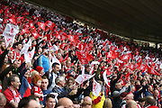 Fans during  during the Sky Bet Championship match between Middlesbrough and Brighton and Hove Albion at the Riverside Stadium, Middlesbrough, England on 7 May 2016. Photo by Simon Davies.