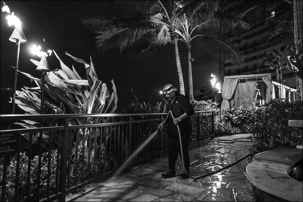 Magno, (no last name, spoke little English) night maintenance at Sheraton Waikiki washing pool area. 1:32am