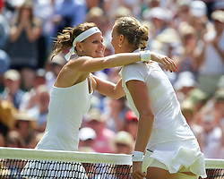 03.07.2014, All England Lawn Tennis Club, London, ENG, WTA Tour, Wimbledon, Tag 10, im Bild Lucie Safarova (CZE) embraces Petra Kvitova (CZE) after the Ladies' Singles Semi-Final match on day ten // during day 10 of the Wimbledon Championships at the All England Lawn Tennis Club in London, Great Britain on 2014/07/03. EXPA Pictures &copy; 2014, PhotoCredit: EXPA/ Propagandaphoto/ David Rawcliffe<br /> <br /> *****ATTENTION - OUT of ENG, GBR*****
