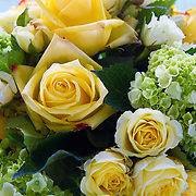 Yellow roses used as a table decoration at a horse show.<br />