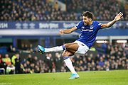 Everton forward Dominic Calvert-Lewin (9) scores a goal 2-0  during the Premier League match between Everton and Newcastle United at Goodison Park, Liverpool, England on 21 January 2020.