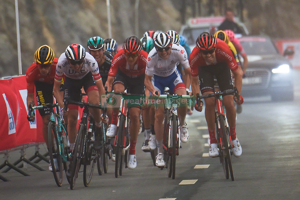 March 1, 2019 - Jebel Jais, United Arab Emirates - The Red Jersey, Primoz Roglic (Left) of Slovenia and Team Jumbo - Visma, challenged by Dan Martin (2nd Left) and Tom Dumoulin (Right) on his way to win the sixth Rak Properties Stage of UAE Tour 2019, a 180km with a start from Ajman and finish in Jebel Jais. .On Friday, March 1, 2019, in Jebel Jais, Ras Al Khaimah Emirate, United Arab Emirates. (Credit Image: © Artur Widak/NurPhoto via ZUMA Press)