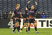 Nathan Fowles celebrates with the supporters the Heineken Champions Cup match between Edinburgh Rugby and Montpellier Herault Rugby at BT Murrayfield Stadium, Edinburgh, Scotland on 18 January 2019.