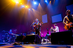 Conor OBrien with his band The Villagers, who were short listed for the Mercury Music Prize 2010 Support Elbow at Sheffield Motorpoint Arena  ..19 March 2011.Images © Paul David Drabble