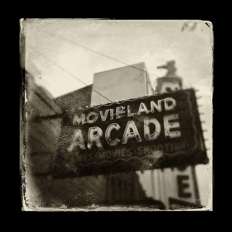 "Charles Blackburn image of the Movieland Arcade sign in Vancouver, BC. 5x5"" print."