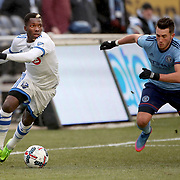 NEW YORK, NEW YORK - March 18: Jack Harrison #11 of New York City FC challenges Ambroise Oyongo #2 of Montreal Impact during the New York City FC Vs Montreal Impact regular season MLS game at Yankee Stadium on March 18, 2017 in New York City. (Photo by Tim Clayton/Corbis via Getty Images)