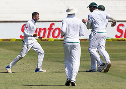 Durban. 010318. Keshav Maharaj of South Africa celebrates the wicket of Steve Smith during the first Sunfoil Test Match in Durban. Picture Leon Lestrade/African News Agency/ANA