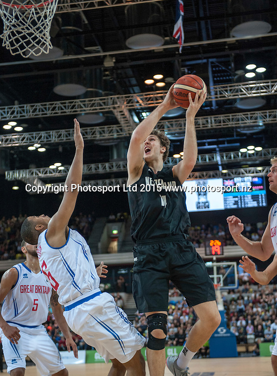 25.07.2015. London England. Basketball test match. Great Britain versus New Zealand.  Tall Blacks Centre Robert Loe [#14 ] in action under the basket.