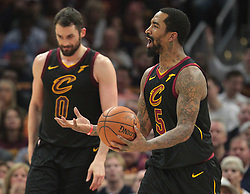 April 25, 2018 - Cleveland, OH, USA - The Cleveland Cavaliers' JR Smith complains after a foul is called on him against the Indiana Pacers in the second quarter in Game 5 of a first-round playoff series on Wednesday, April 25, 2018, at Quicken Loans Arena in Cleveland. (Credit Image: © Leah Klafczynski/TNS via ZUMA Wire)