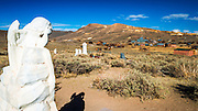 Angel headstone on a child's grave in the Bodie Cemetery, Bodie State Historic Park, California USA