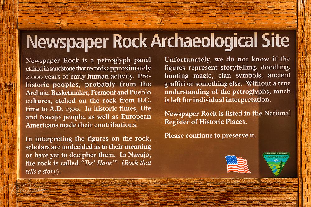 Sign at Newspaper Rock State Park, Utah