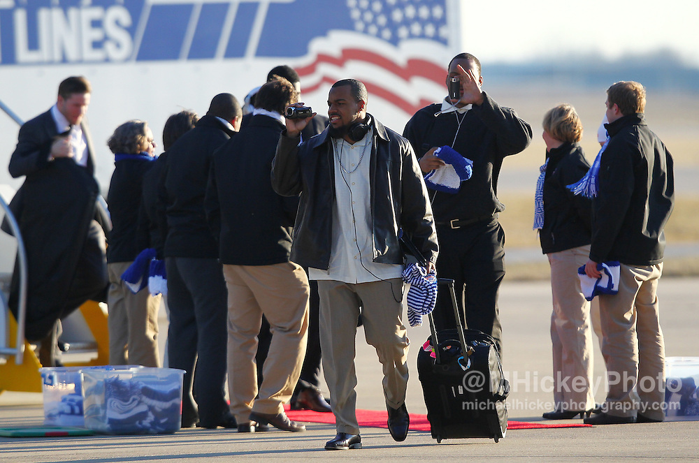 Jan. 29, 2012; Indianapolis, IN, USA; Members of the New England Patriots arrive at Indianapolis International Airport.  Mandatory credit: Michael Hickey-US PRESSWIRE