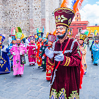SAN MIGUEL DE ALLENDE , MEXICO - MAY 31 : Chinelos at the festival of Valle del Maiz on May 31 , 2015 in San Miguel de Allende ,Mexico. Chinelos are traditional Mexican costumed dancers