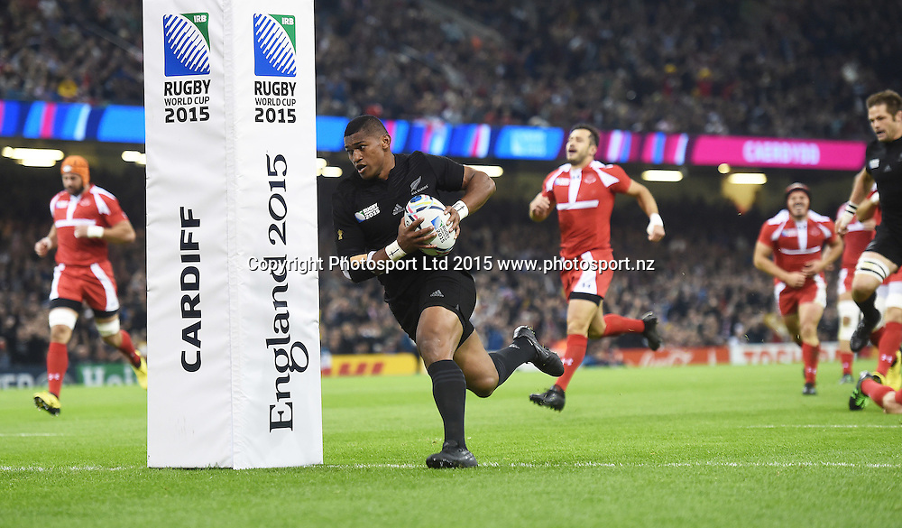 Waisake Naholo scores an early try during the New Zealand All Blacks v Georgia Rugby World Cup 2015 match. Millennium Stadium in Cardiff, Wales, UK. Friday 2 October 2015. Copyright Photo: Andrew Cornaga / www.Photosport.nz