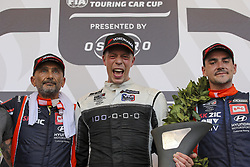 June 24, 2018 - Vila Real, Vila Real, Portugal - Thed Bjork (C) from Sweden in Hyundai i30 N TCR of MRacing - YMR celebrating with Gabriele Tarquini from Italy in Hyundai i30 N TCR of BRC Racing Team (L) and Norbert Michelisz from Hungary in Hyundai i30 N TCR of BRC Racing Team (R) after winning Race 3 of FIA WTCR 2018 World Touring Car Cup Race of Portugal, Vila Real, June 24, 2018. (Credit Image: © Dpi/NurPhoto via ZUMA Press)