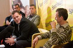 """Matej Avanzo in Miha Zibrat na okrogli mizi na temo """"Slovenska kosarka - le kos do svetovnega vrha?"""" v organizaciji SportForum Slovenija, 19. oktober 2009, Austria Trend Hotel, Ljubljana, Slovenija. (Photo by Vid Ponikvar / Sportida)"""